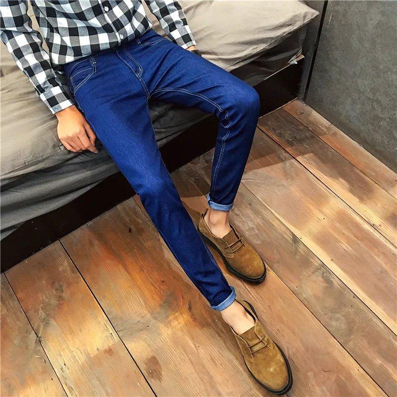 2019 Main Push-Men Casual Jeans Trend Pure Blue Slim Fit Skinny Pants Long Pants Teenager Pants