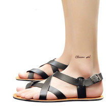 2020 Summer Men's Sandals Leather Vintage Flat Heel Solid Buckle Beach Gladiator Sandals Shoes Breathable Men Flip Flops Sandals sandals men shoes summer 2020 beach gladiator fashion men s outdoor sandals men shoes flip flops sandals flat large size