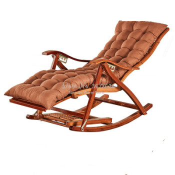 A  Foldadble Bamboo Rocking Chair Recliner Home Balcony Rocking Chair Recliner Adult Lunch Break Siesta Patio Chair