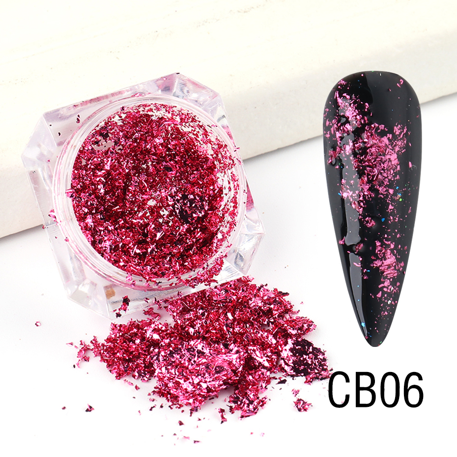 1 Box Gold Glitter Flakes Irregular Aluminum Foil Sequins For Nails Chrome Powder Winter Manicure Nail Art Decorations LY1858-1 32