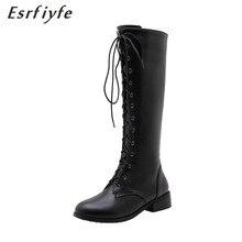 ESRFIYFE/ г. Новые осенне-зимние женские сапоги до колена обувь на толстом каблуке с круглым носком женские черные и белые высокие сапоги на шнуровке
