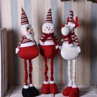 110cm Retractable Santa Claus Snowman Elk Dolls Merry Christmas New Year Gift Christmas Decorations for Home enfeites de natal