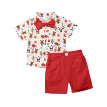 1-6Years Christmas Toddler Kid Boys Red Clothing Set Cartoon Bow Gentleman Tops + Shorts Party Outfits Xmas Costumes