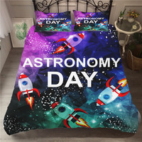Bedding bedcover Set Gorgeous Astronomy Day Duvet Cover Set Cartoon Home Textiles Space Pattern Bed