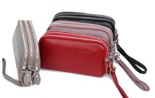 First Layer Of Leather Three-layer Ladies Clutch Bag Wallet Multifunctional