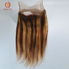 360 Lace Frontal Closure from 10-20 Inch Highlight Color/ Natural Color Brazilian Straight Remy Human Hair
