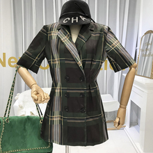 Vintage Plaid Button Dress with Short Sleeve Korean Fashion Dresses Above Knee, Mini New Arrival 2019 green