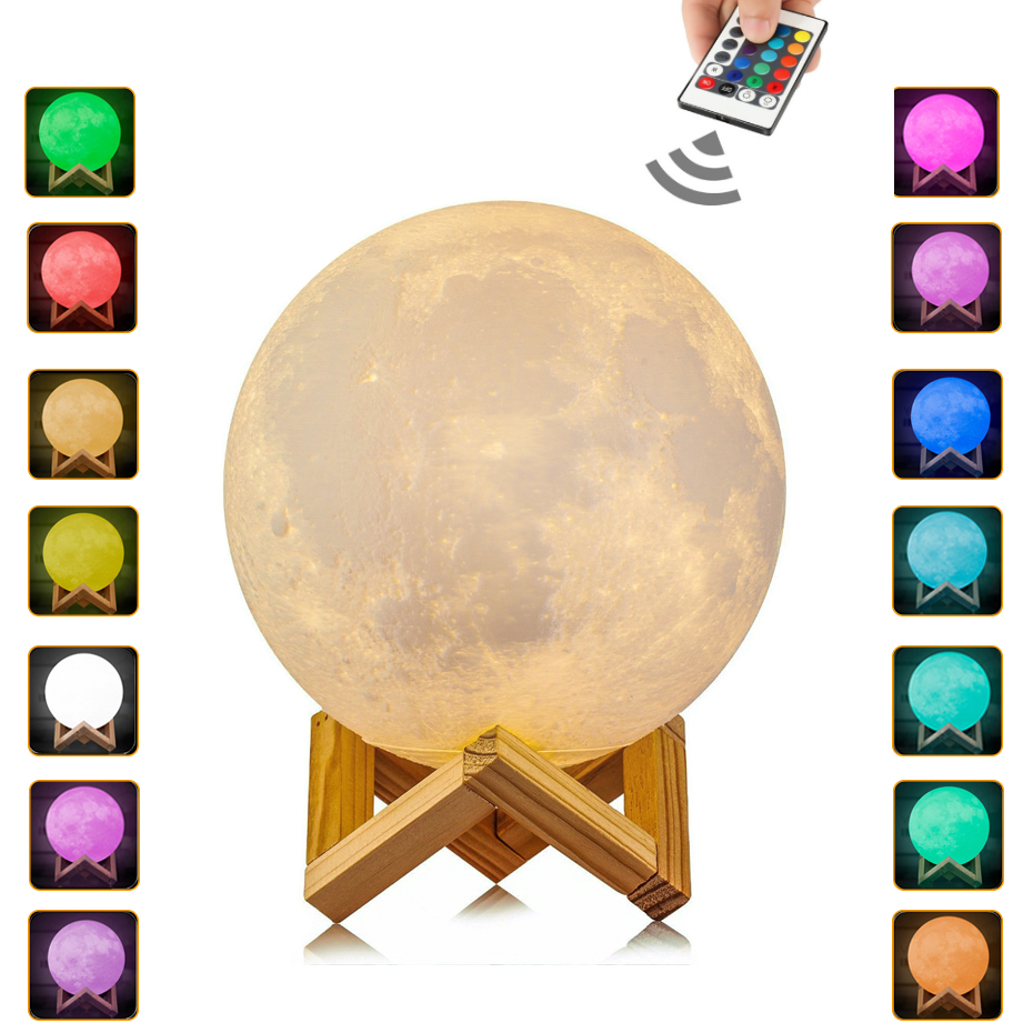 <font><b>Luna</b></font> Moon Lamp Night Light 3D Print Moonlight LED Dimmable Touch/Remote Control 16 Colors USB Rechargeable Led Night Light image