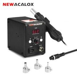 NEWACALOX 858D 110V/220V 700W stacja lutownicza Hot wiatrówka cyfrowy SMD Rework opalarka przemysłowe suszarka do włosów rozlutownica narzędzia