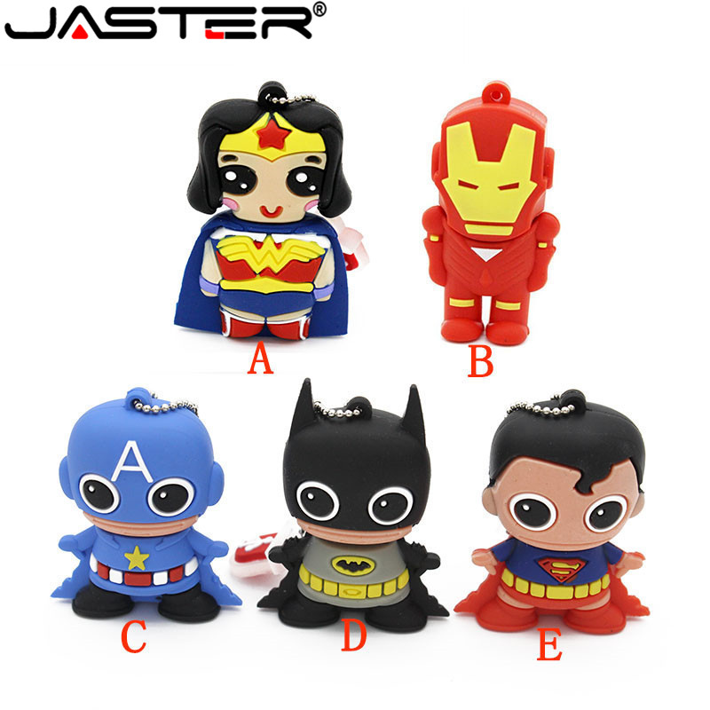 JASTER Cute Super Hero Batman Captain America Superman Pendrive 64GB 32GB 16GB 8GB 4GB U Disk Flash Drive Pen Drive Memory Stick