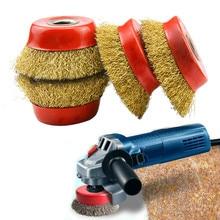 4pcs spazzola per filo abrasivo rimozione della ruggine in metallo ruota per lucidatura ruote in filo di rame cerchi spazzola per ruote in filo dacciaio per smerigliatrici angolari