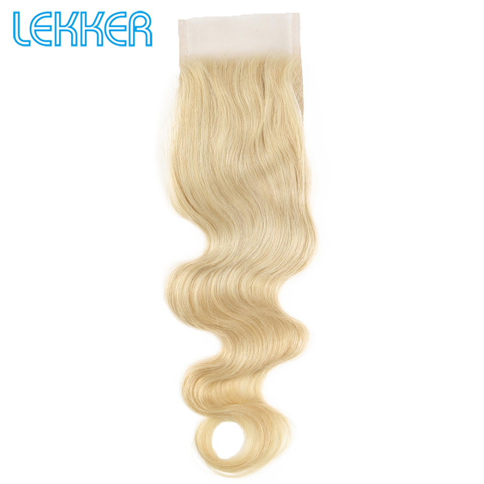 Lekker Hair 613 Blonde Closure 4X4 Transparent Swiss Lace Remy Hair Body Wave Closure With Baby Hair Brazilian Hair Extension
