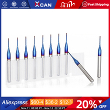 XCAN 10pcs 3.175 Shank  Blue Coated Carbide End Milling Cutter CNC Router Bits Engraving Edge Cutter Endmill 0.8 3.0mm
