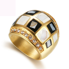 Luxury Color shell finger ring fashion jewelry titanium steel wedding rings crystal casting for women free shipping
