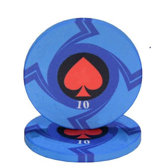 25 pièces/lot en céramique Texas jetons de Poker professionnel Casino européen jetons ensemble 39*3.3mm 10g 2