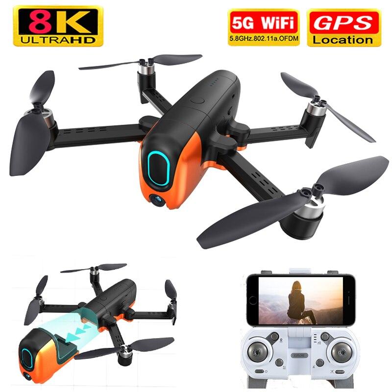 Novo rc zangão 4k 6k 8k ultra hd pixel gps 5g wifi três eixos sem escova fpv vr zangão do motor voando 33 minutos rc quadcopter brinquedo
