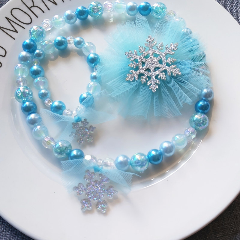 Frozen 2 Headwear Christmas Childrens Cute Glitter Snowflake Necklace Bracelet Hair Clip Gifts Set Elsa Princess Toys For Girls