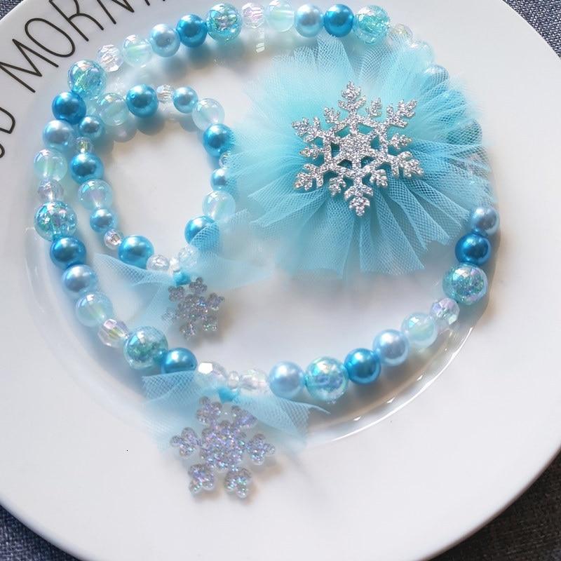 Frozen 2 Headwear Christmas Childrens Cute Glitter Snowflake Necklace Bracelet Hair Clip Gifts Set Elsa Princess Toys For Girls