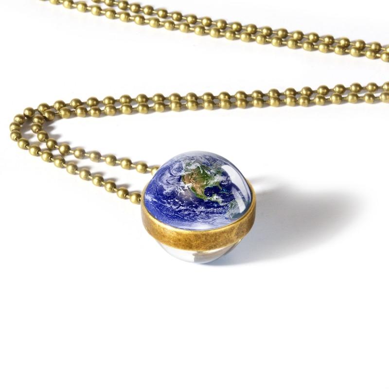 Globe Double Sided Necklace Solar System Planet Venus Mercury Mars Saturn Uranus Neptune Earth Sun Pendant Dome Glass Necklaces 10