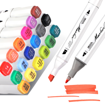 12/24/36/60/80 Color Permanent Markers Manga Drawing Markers Pen Alcohol Based Sketch Felt-Tip Oily Twin Brush Pen Art Supplies sketch markers soft brush pen artist markers dual tip permanent art markers for 48 60 color painting manga design kids and adult