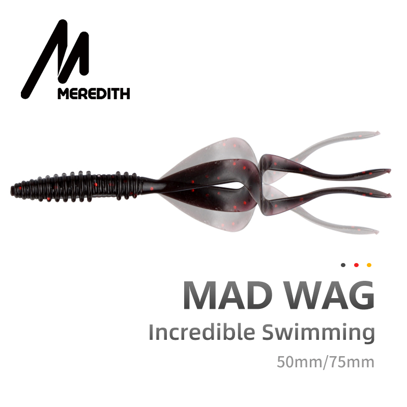 Meredith Mad Wag Fishing Soft Lures 50mm 75mm Artificial Soft Baits Predator Silicone Fishing Soft Wobblers Fishing Lures