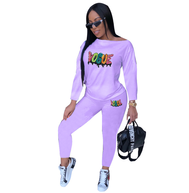 2019 Europe And The United States New Autumn Classic Urban Fashion Casual Sequins Women's Four-color Two-piece