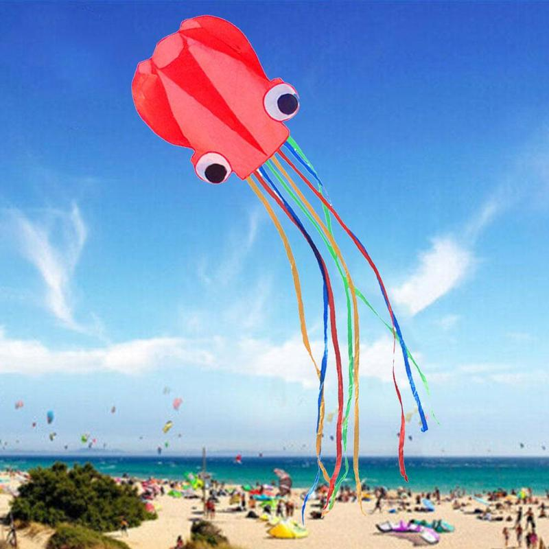 3D 4M Octopus Kite Single Line Sport Flying Soft Kite Cartoon Animal Kite Colorful Small Software Breeze Outdoor Easy To Fly image