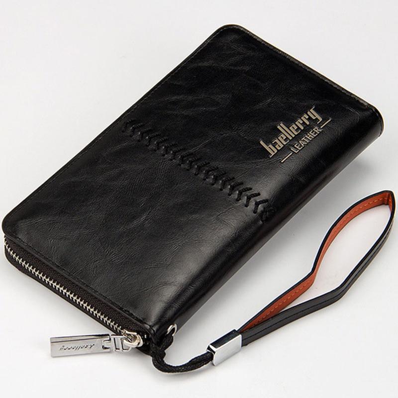 Luxury Brand Men Wallets Purse Money Bag Leather Men Clutch Wallet Male Wrist Strap Baellerry Wallet Carteira Masculina MWS020