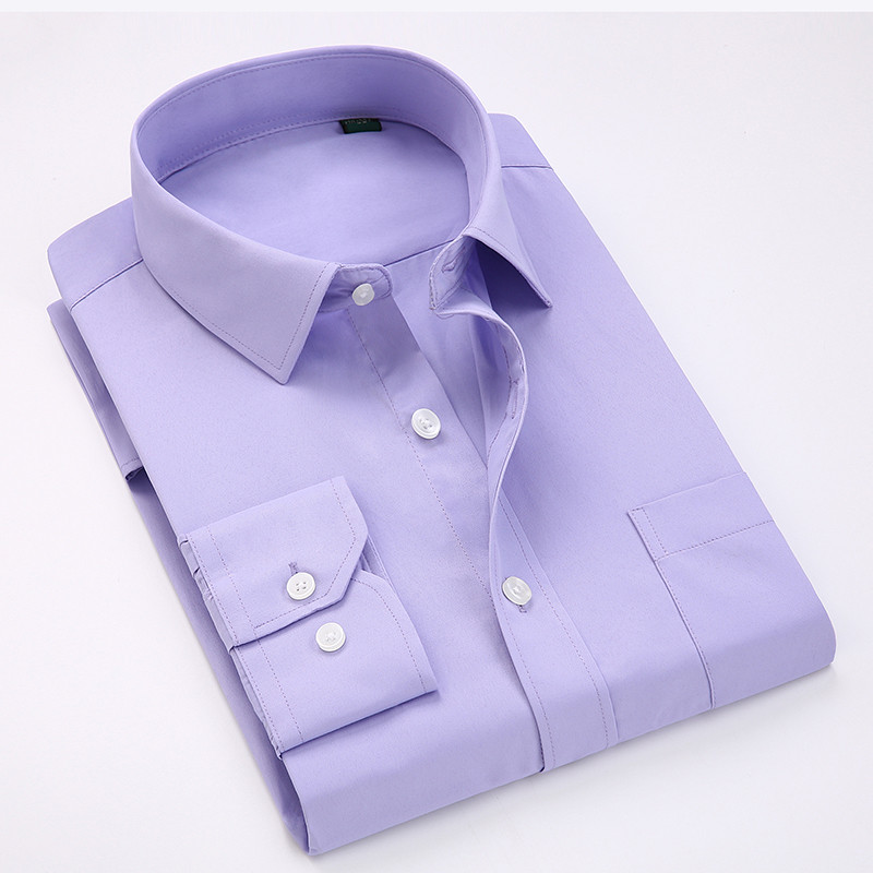Comfortable  business  men's solid plain dress shirts long sleeve square collar regular fit male social shirt 5