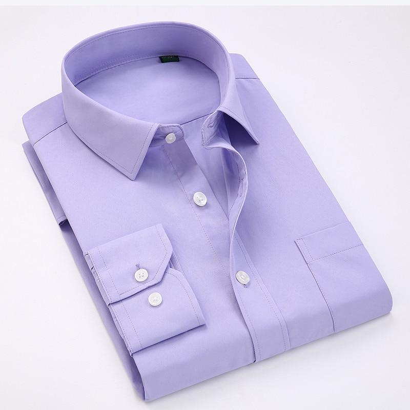 Comfortable  business  men's solid plain dress shirts long sleeve square collar regular fit male social shirt 5