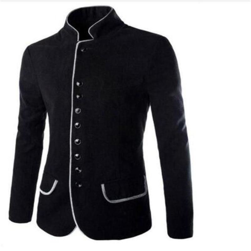 2018 Autumn Winter Men Blazers Solid Casual Stand Collar Long Sleeve Button Slim Hot Sale Men's Blazers Coat