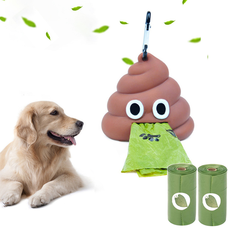 Dog Poop Bag Dispenser Funny Shape Holder Storage Box Waste Bag Deispenser Fits For Pet Leash Poop Bags SET