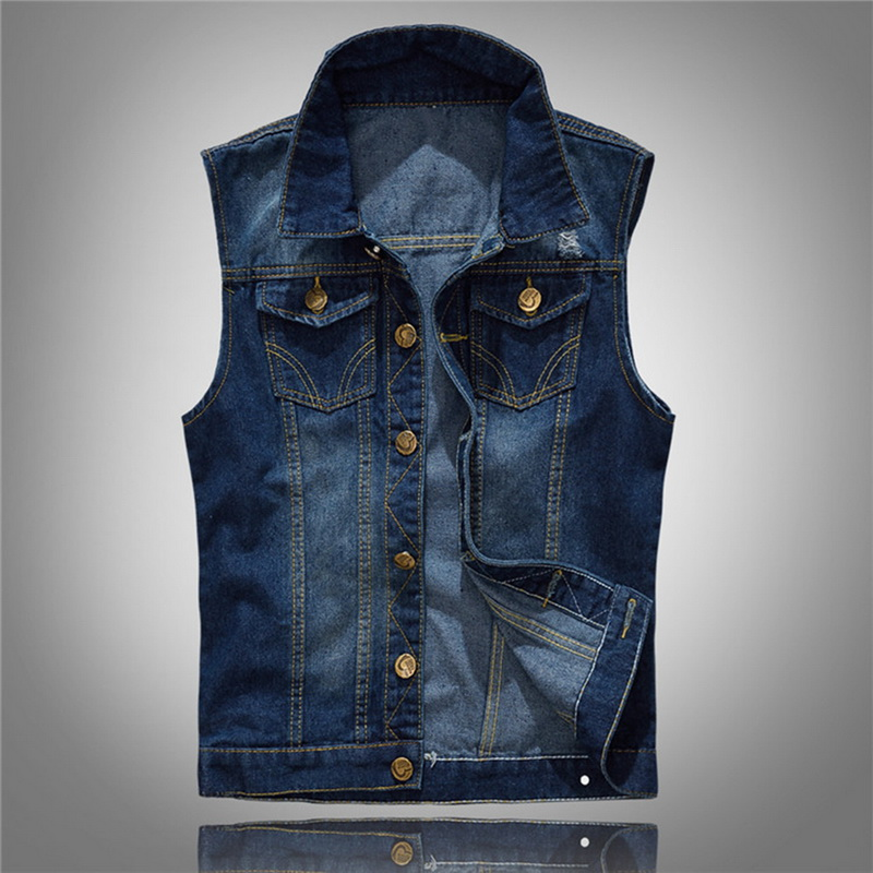 DIHOPE Casual Jeans Sleeveless Jacket Vest Men Streetwear Blue Denim Cardigans Vest  Plus Size 5XL Cowboy Waistcoat Mens Jackets
