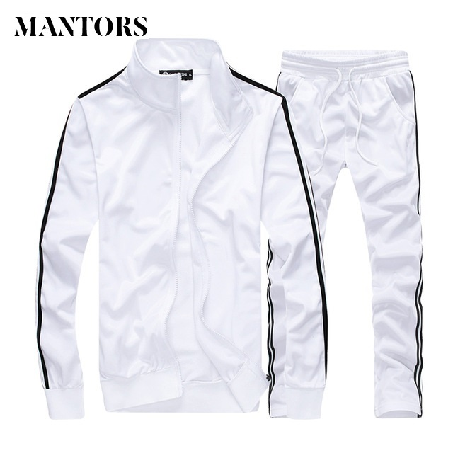 Spring Autumn Men Set Casual Men's Sportswear Tracksuit Striped Zipper Jacket+Sweatpants Two Piece Sets Male Solid Sporting Suit