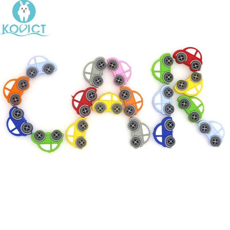 Kovict 10pc/lot Mini Car Silicone Beads Baby Teether Bead Teething Toys Accessories Food Grade Silicone