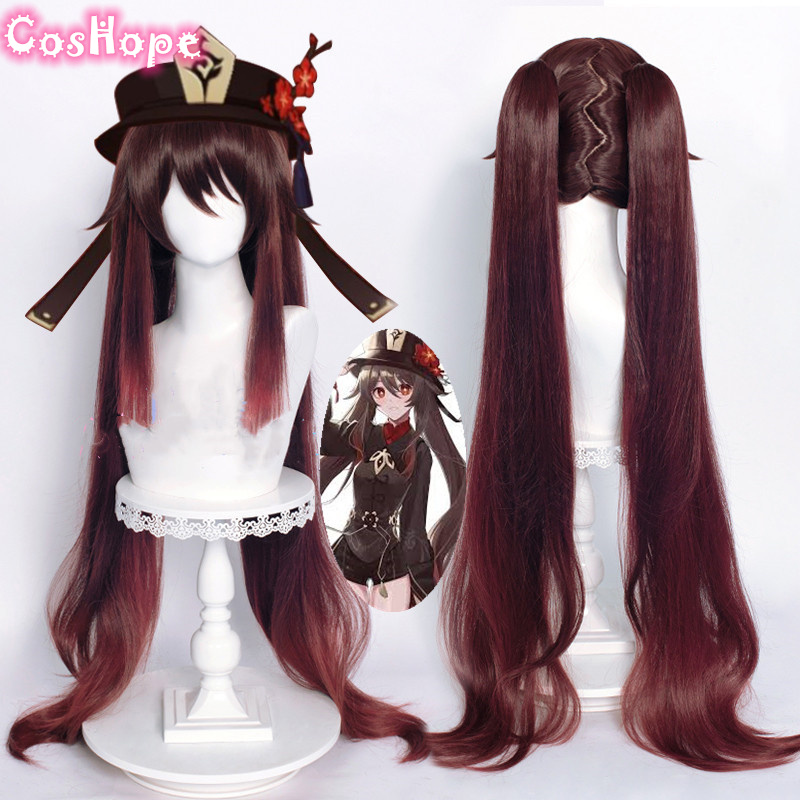 Genshin Impact HuTao Cosplay Women 110cm Long Wig Brown Wig Cosplay Anime Cosplay Wigs Heat Resistant Synthetic Wigs Halloween
