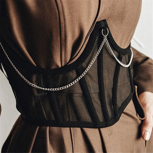 Y2K Mesh Chain Corset Crop Tops E-Girl Fashion Black Harness Corset Belt Women Outfits Streetwear Female Sexy Tight Aesthetics 1