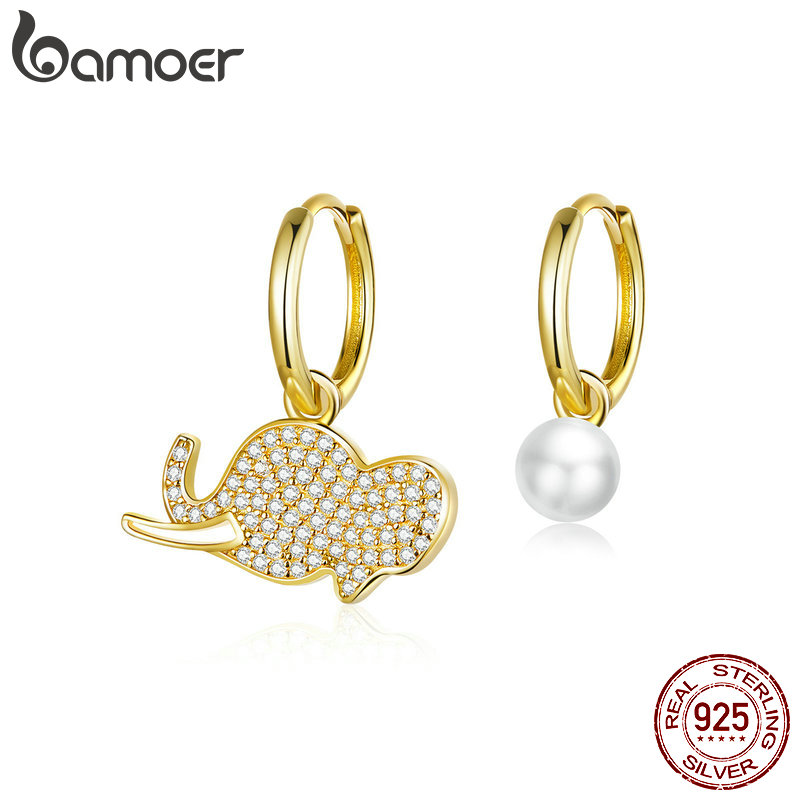 Bamoer Protect Animal Elephant Asymmetry Pearl Earrings For Women 925 Sterling Silver Gold Color Jewelry Oorbellen BSE371