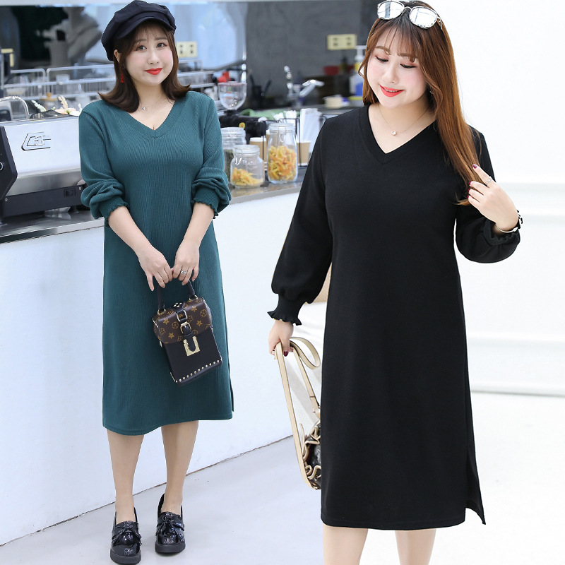 [Xuan Chen] Chubby Autumn And Winter New Products Outfit Large Size Jersey Dress Simple Base Skirt 6808