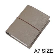 אמיתי עור טבעות מחברת A7 גודל כסף קלסר מיני סדר יום מארגן עור פרה יומן כתב עת מתכנן עם כרטיס אשראי חריצים