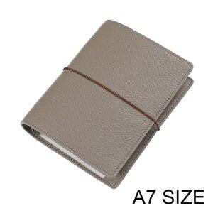 Image 1 - Anneaux en cuir véritable, taille A7, reliure en argent, Mini Agenda organisateur, cuir de vache, planificateur de Journal intime avec fentes pour cartes de crédit