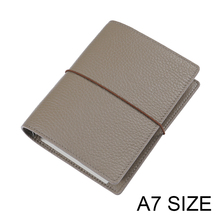Genuine Leather Rings Notebook A7 Size Silver Binder Mini Agenda Organizer Cowhide Diary Journal Planner with Credit Card Slots