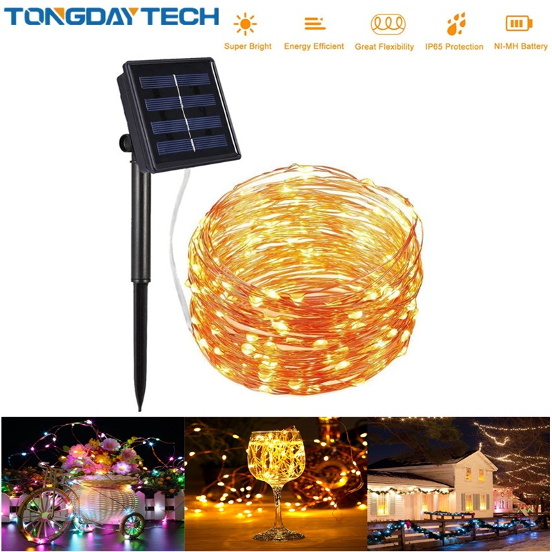 TONGDAYTECH 100/200/300 LED Outdoor Solar Lamp String Lights  Holiday Christmas Party Garland Solar Garden IP65 Waterproof Light