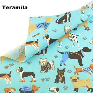 Teramila 100% Cotton Twill Fabric Home Textile DIY Patchwork Sewing Cloth Tissu Tecido Dog Pet Style Tela Quilting Decoration
