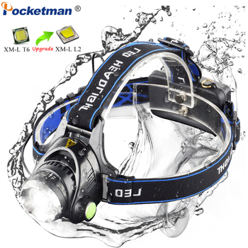 LED headlamp fishing headlight T6/L2 3-Modes Zoomable lamp Waterproof Head Torch flashlight Head lamp by 18650 battery 4400ma 18650 battery led headlight xml t6 l2 headlamp waterproof zoom head lamp rechargeable flashlight head torch light