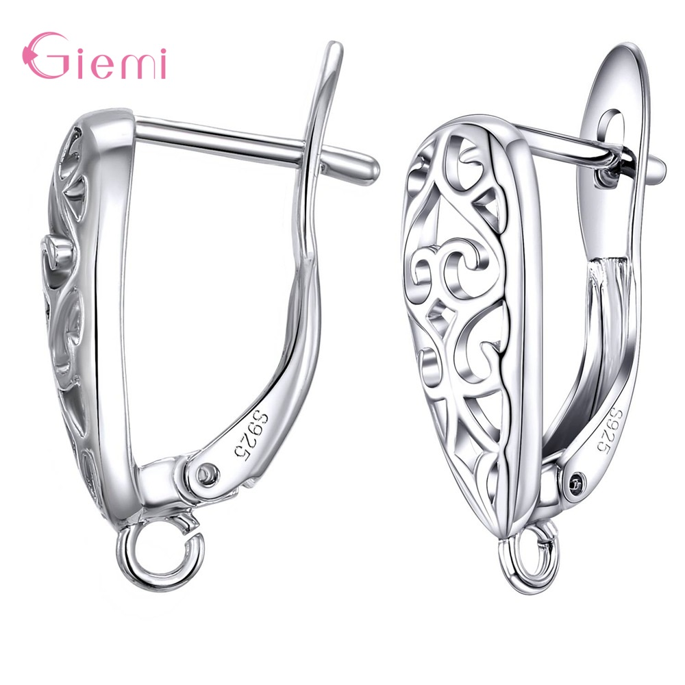 925 Sterling Silver Wholesale Fashion Hot Sale DIY Jewelry Accessory Earrings Handmade Accessories 1 Pair/Lot Women Jewelry Fitt