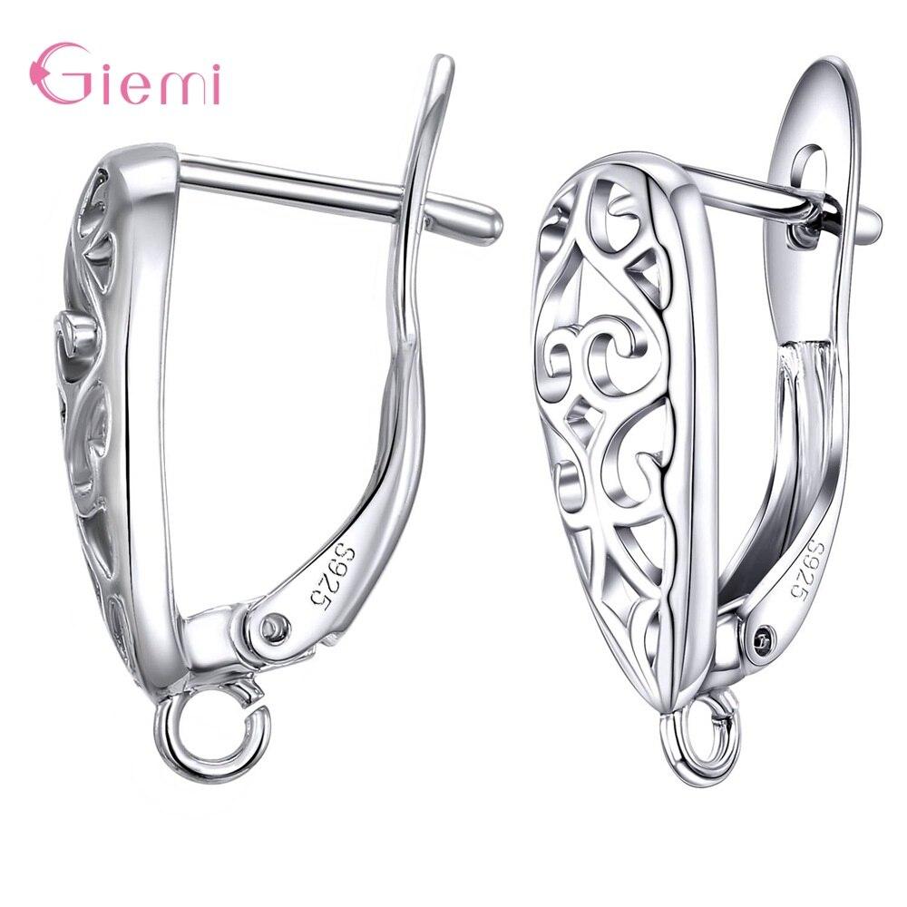 925 Sterling Silver Wholesale Fashion Hot Sale DIY Jewelry Accessory Earrings Handmade Accessories 1 Pair/Lot Women Jewelry Fitt