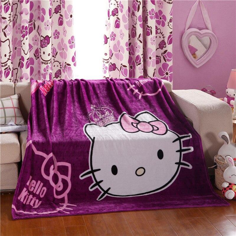 Hot Sale Cartoon Hello Kitty Blanket for Children Gift Warm Portable SpongeBob Spiderman Doraemon Throw Bed Sheet Sofa Blankets(China)