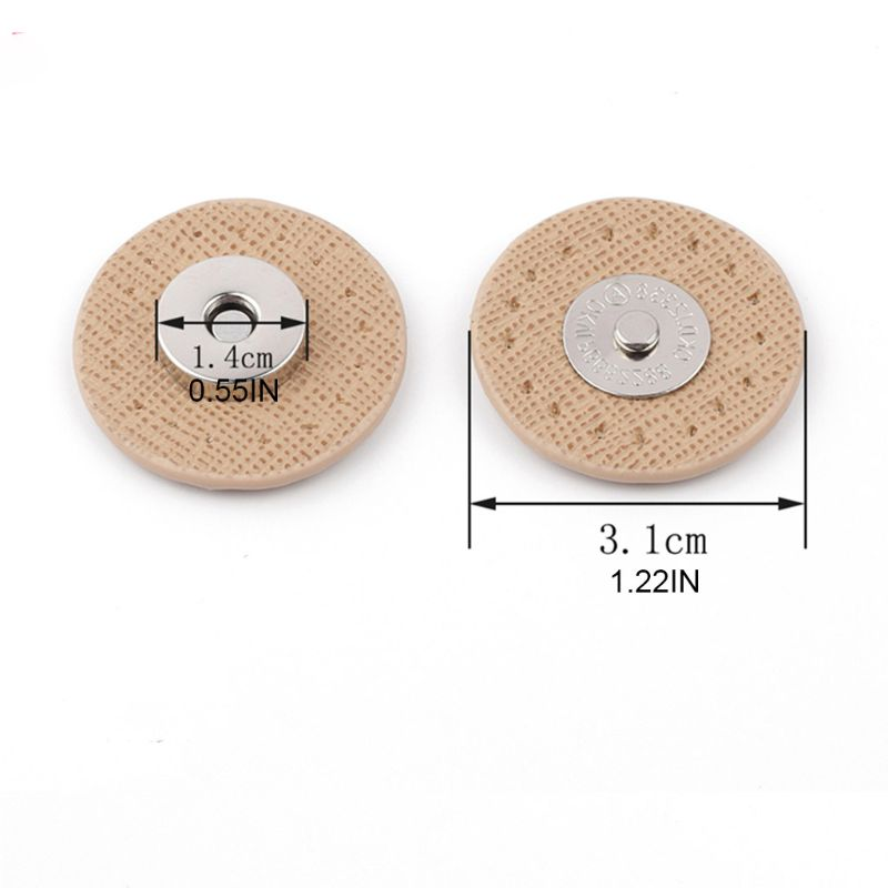 Circle Sew-on Magnetic Button Bag Wallet Clasp Snaps Metal Fastener Sewing Craft DIY Patchwork Lock Accessories Beige Kimnny Magnetic Buckle