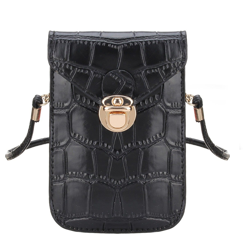 Silver Mobile Phone Mini Bags Small Clutches Shoulder Bag Crocodile Leather Women Handbag Black Clutch Purse Handbag Flap Black